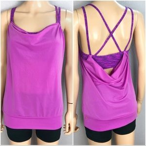 Lucy Layered Cowl Neck Workout Tank Built in Bra